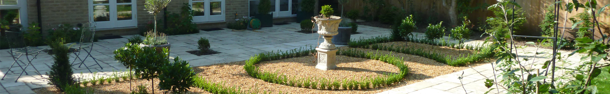 new garden with statue